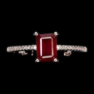 Striking Genuine Ruby Solitaire Ring