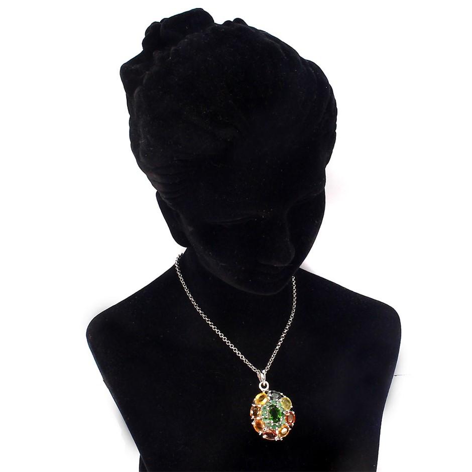 Genuine Emerald & Sapphire Pendant.