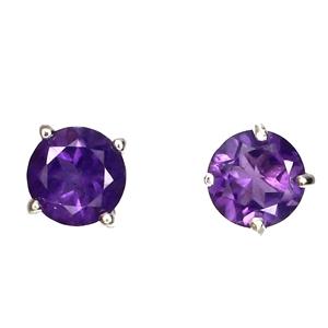 Delightful Genuine Purple Amethyst Stud