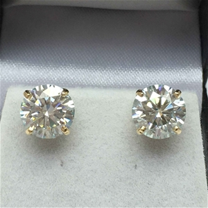 18ct Yellow Gold, 5.30ct Moissanite Earr
