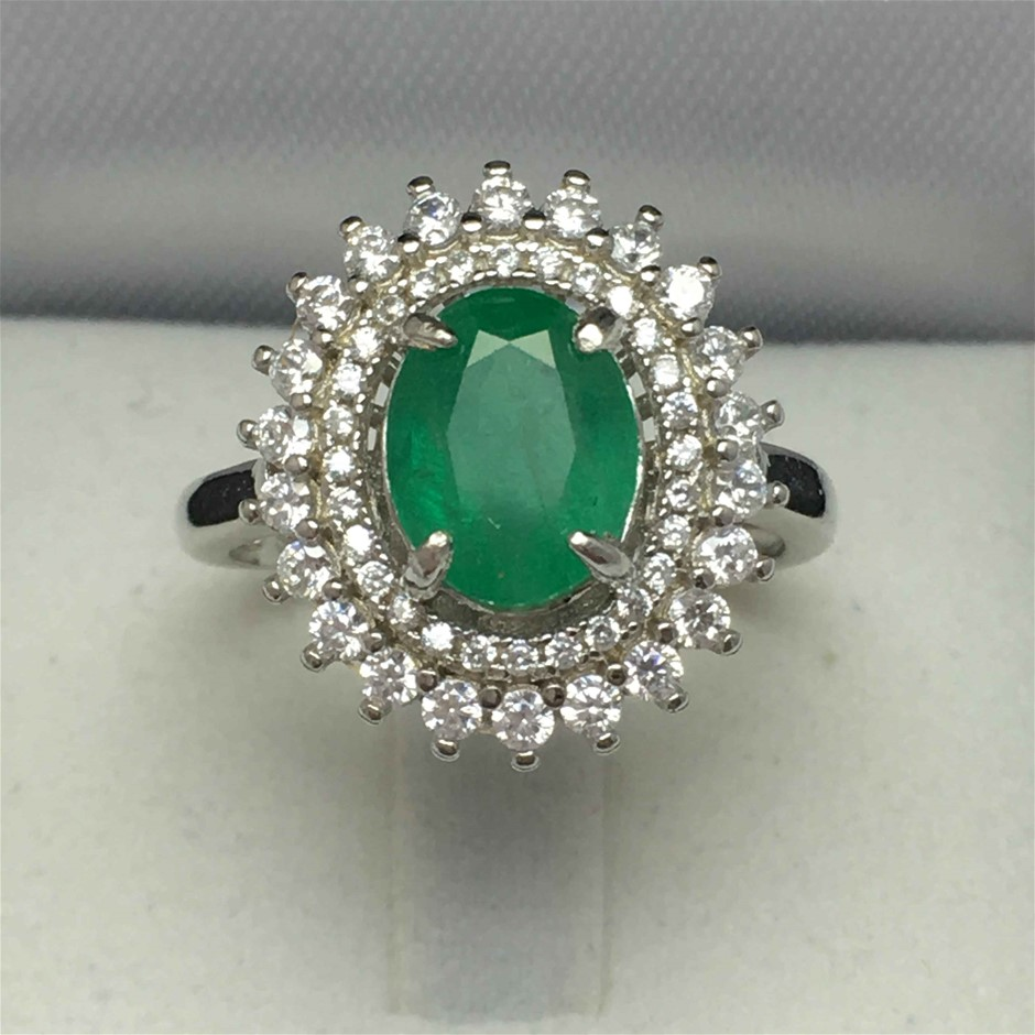 Ladies Sterling Silver, 3.68ct Emerald and Diamond Ring