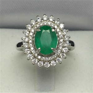 Ladies Sterling Silver, 3.68ct Emerald a