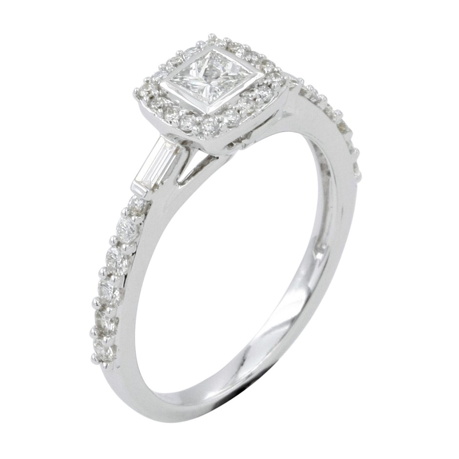 18ct White Gold, 0.74ct Diamond Engagement Ring
