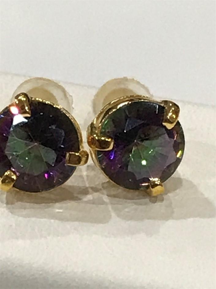 Magnificent Mystic Quartz 3.20ct & 18K Gold Vermeil Earrings