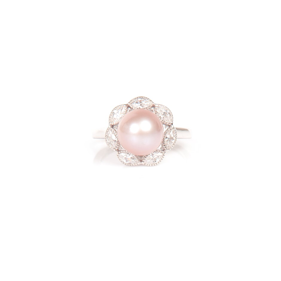 Natural lavender Freshwater Pearl & CZ Set Ring