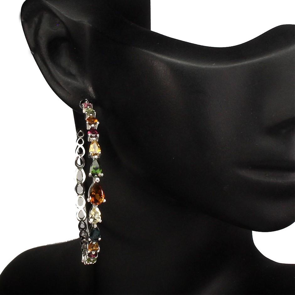 Spectacular Genuine Fancy Coloured Tourmaline Hoop Earrings.