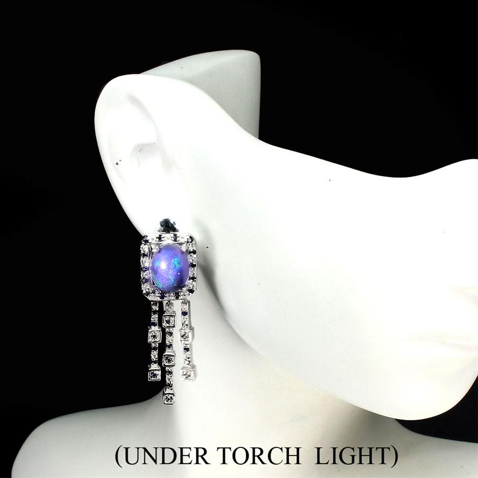Amazing Genuine Fire Opal & Sapphire Drop Earrings.