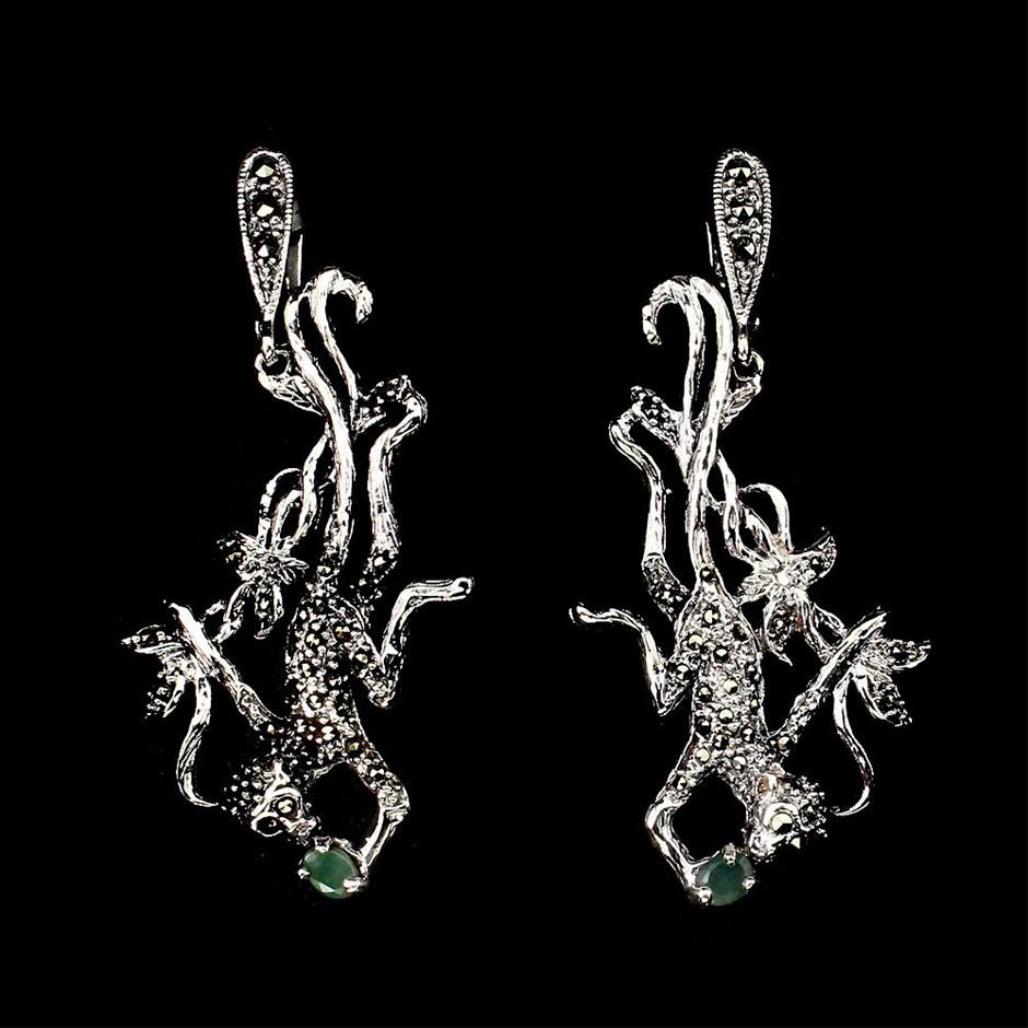 Phenomenal Unique Genuine Emerald Monkey Drop Earrings.