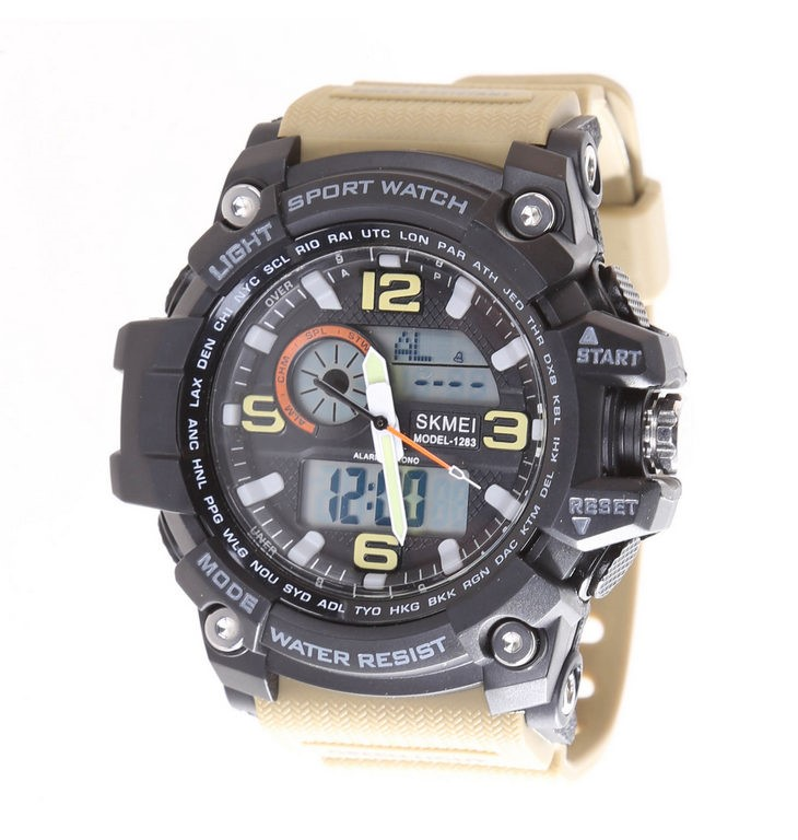 SKMEI Digital Sport Wrist Watch, Water Resistant to 50M, PU Khaki Band, Sta
