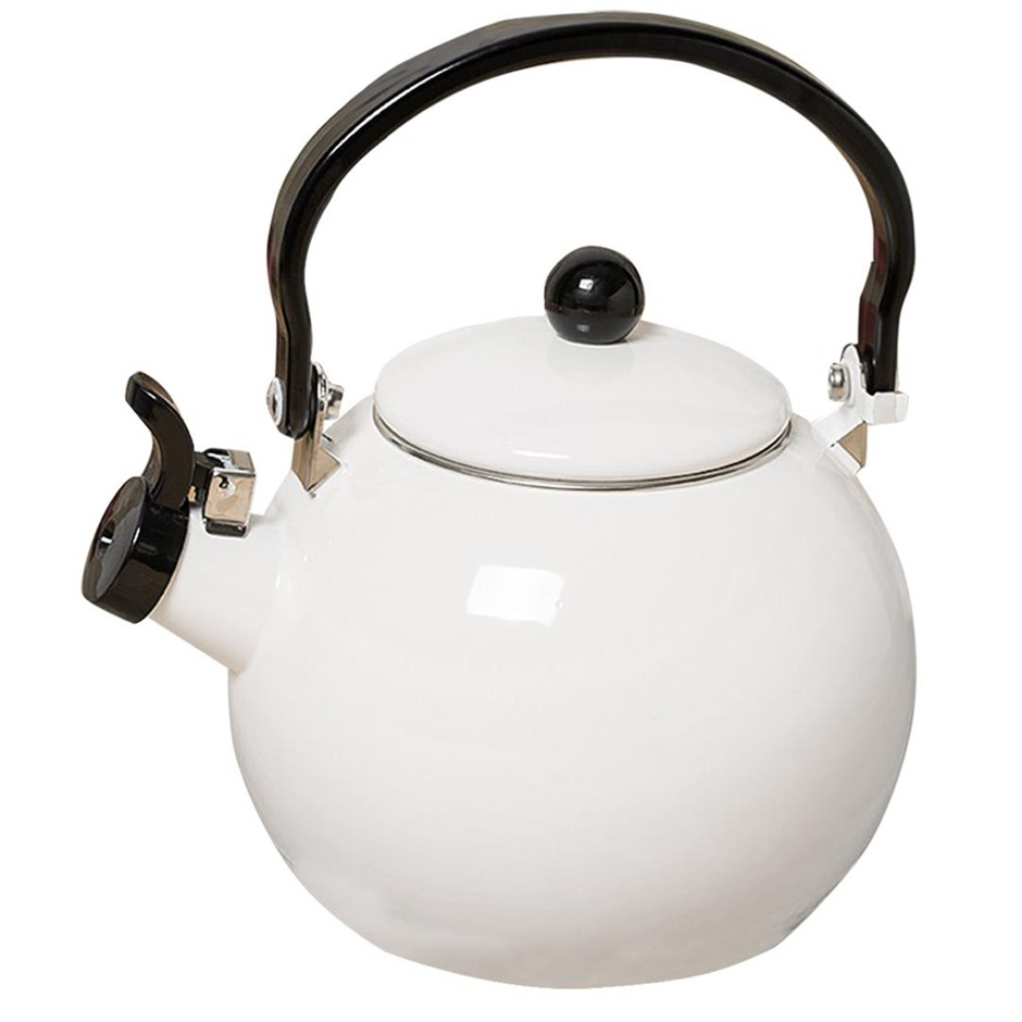 2.0 Litre 18/10 Stainless Steel Enamelled Porcelain Kettle Kitchen White