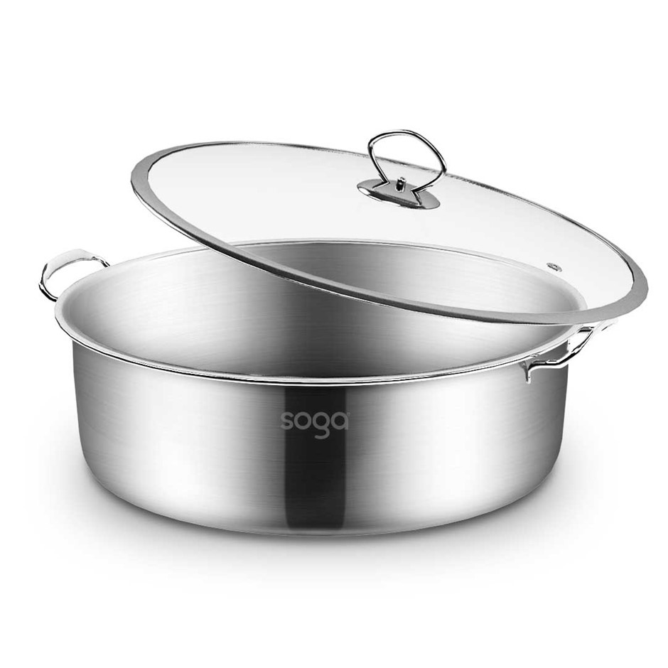 SOGA Stainless Steel 32cm Casserole With Lid Induction Cookware