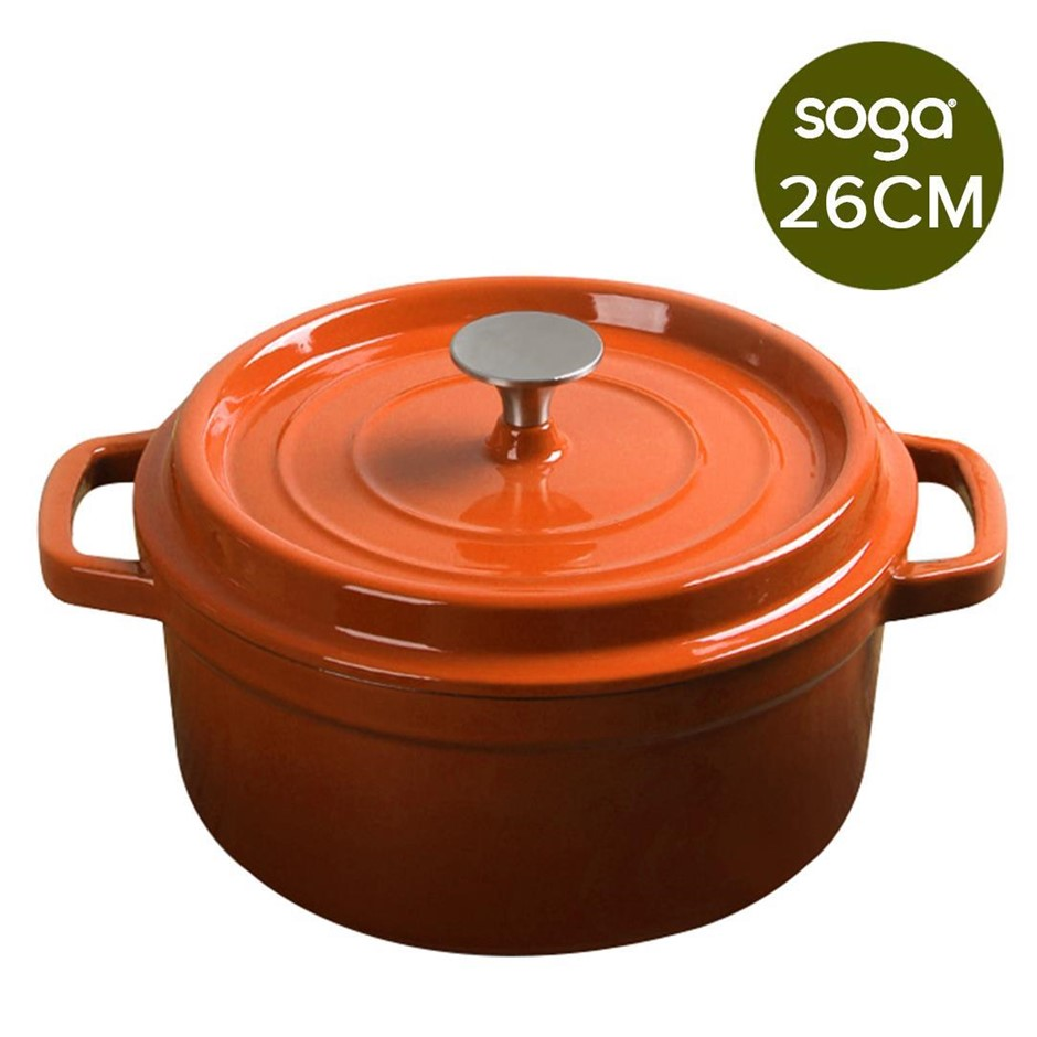 SOGA Cast Iron 26cm Enamel Porcelain Casserole Cooking Pot & Lid 5L Orange
