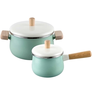 SOGA 22cm Enamel Milk Pot Ceramic Saucep