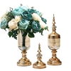 SOGA 2 x Clear Glass Flower Vase with Lid & Blue Flower Filler Vase Gold