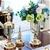 SOGA 2 x Clear Glass Flower Vase with Lid & Blue Flower Filler Vase Bronze
