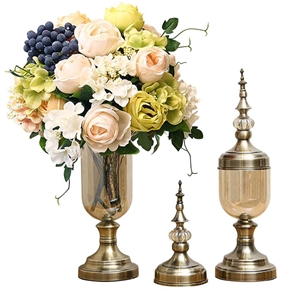 SOGA 2x Clear Glass Flower Vase with Lid