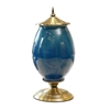 SOGA 40.5cm Ceramic Oval Flower Vase with Gold Metal Base Dark Blue