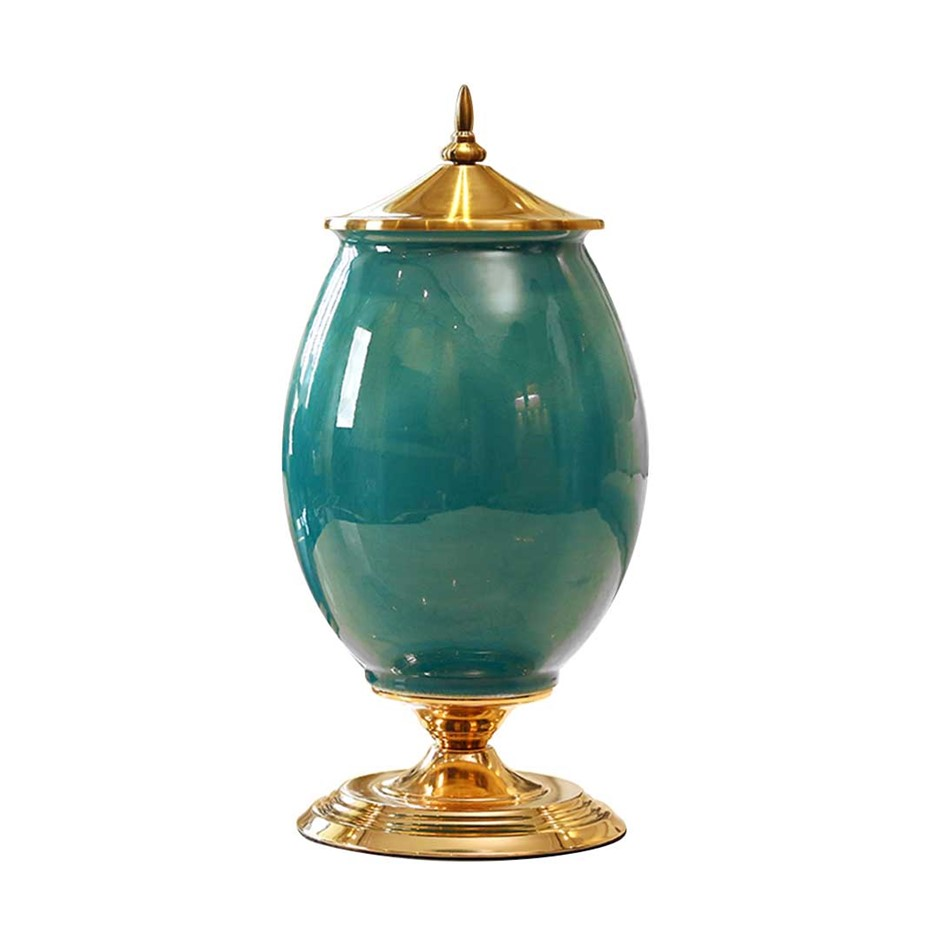 SOGA 40.5cm Ceramic Oval Flower Vase with Gold Metal Base Green