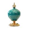 SOGA 38.50cm Ceramic Oval Flower Vase with Gold Metal Base Green