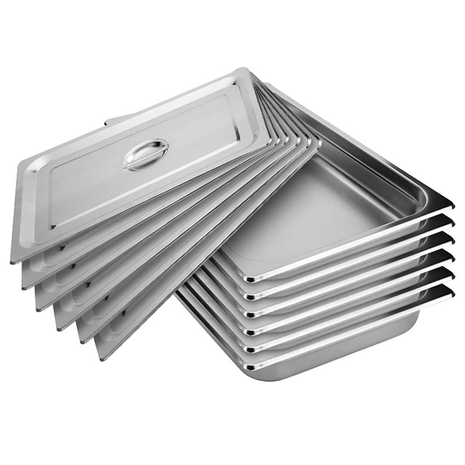 SOGA 6x Gastronorm GN Pan Full Size 1/1 GN 100mm Stainless Steel Tray w/Lid