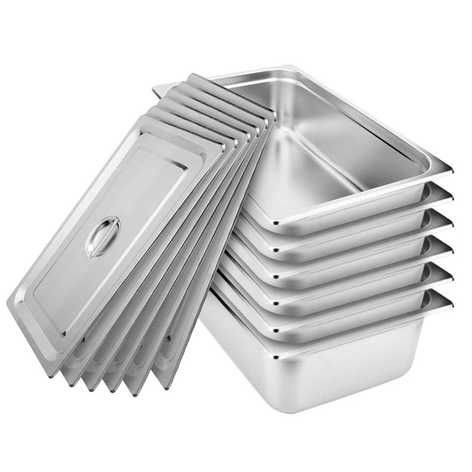 SOGA 6x Gastronorm GN Pan Full Size 1/1 GN 150mm Stainless Steel Tray w/Lid