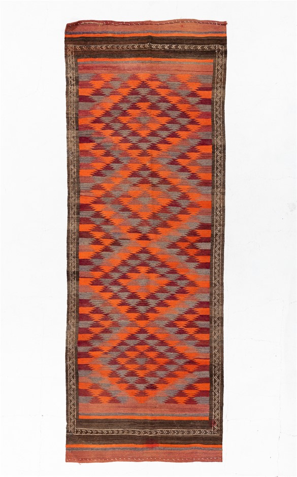 Persian Flat weave Kilim 100% Wool Pile Hand Knotted Size (cm): 117 x 323