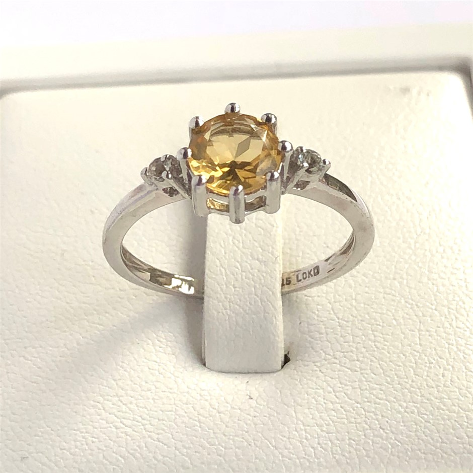 Elegant 925 Sterling Silver Citrine & White Topaz Ring
