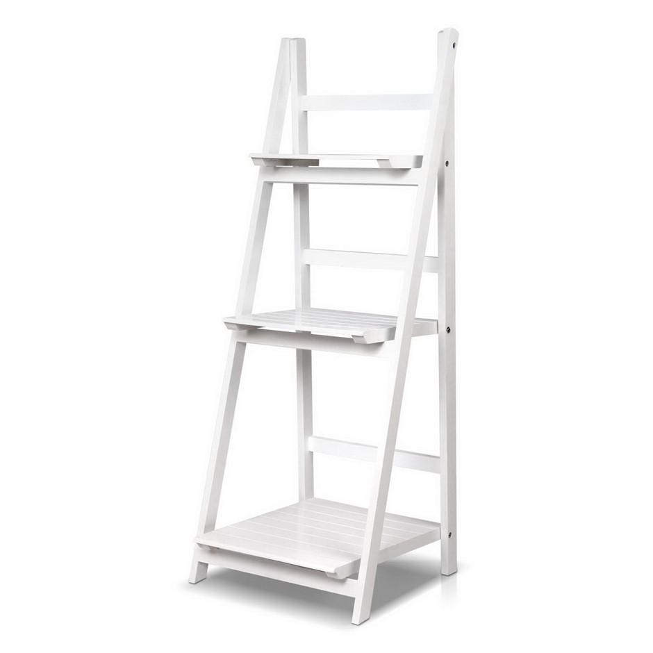 Artiss Display Shelf 3 Tier Wooden Ladder Stand Storage Rack White