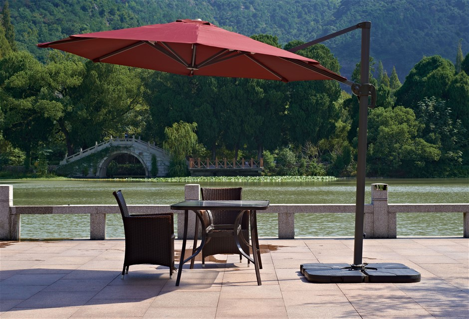 Outdoor Patio 4-Piece Cantilever Offset 3M Umbrella Base Stand Weight Water