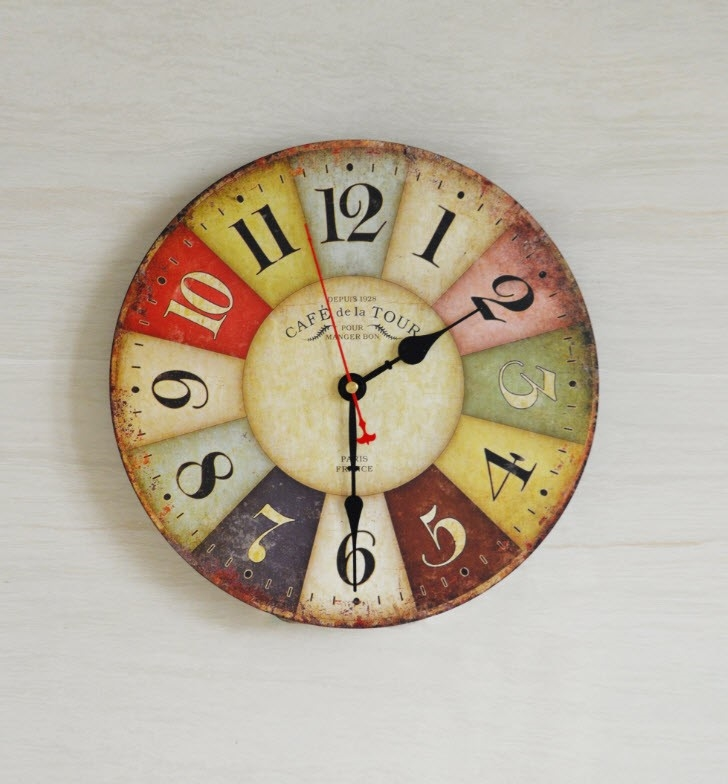 Buy Large Colourful Wall Clock Kitchen Office Retro Timepiece Graysonline Australia