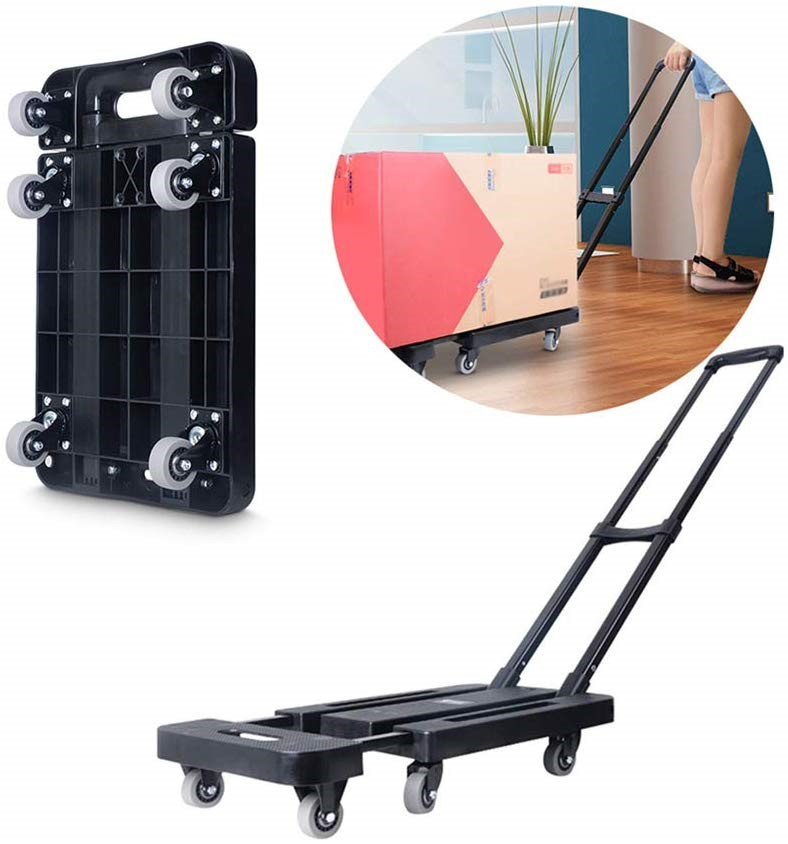 Foldable Hand Flatbed Trolley Cart 6x 360deg; Rotating Wheels, Max 200Kg
