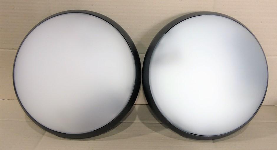 2 x Nova Tonda 330 diffusore Vetro Satinato LB812M2 Nero, black