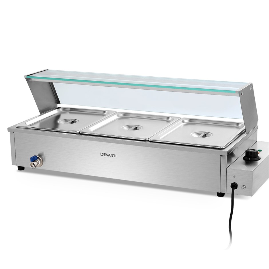 Devanti Commercial Food Warmer Bain Marie Electric Buffet Pan