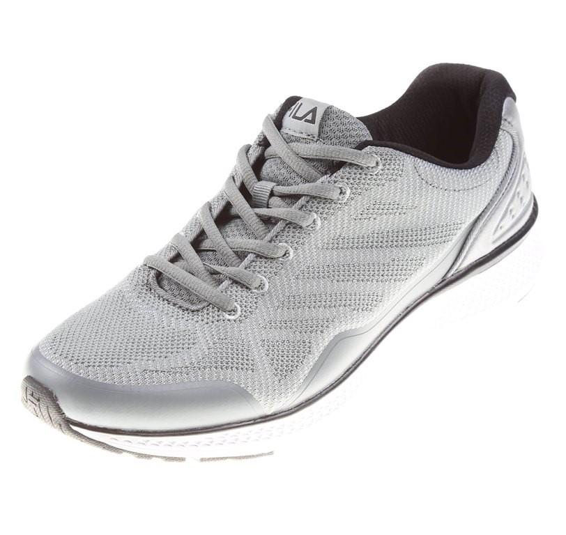 Pair FILA Men`s Memory Foam Startup Knit Runners, UK Size 12, Grey/Black. B