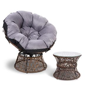 Gardeon Papasan Chair and Side Table - B