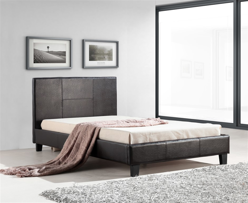 King Single PU Leather Bed Frame Brown