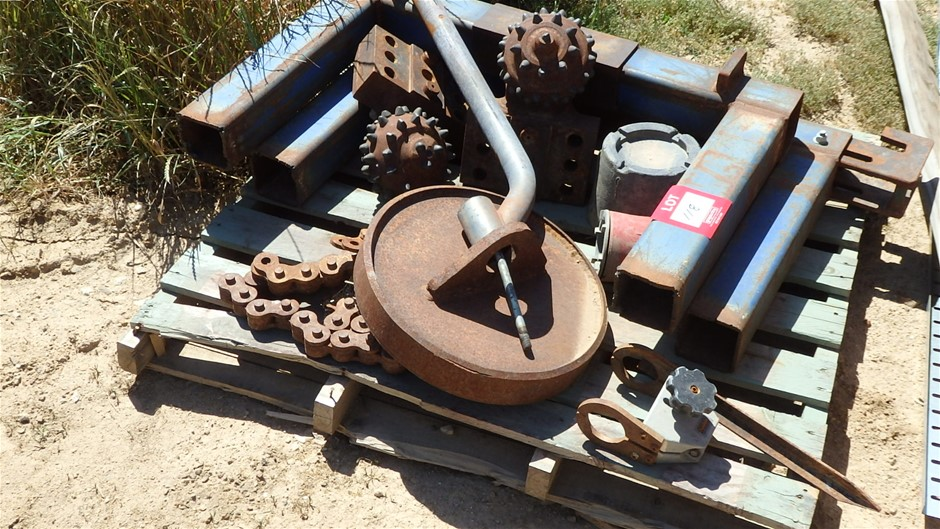 Pallet Containing Assorted Drill Head Covers & Scrap Steel