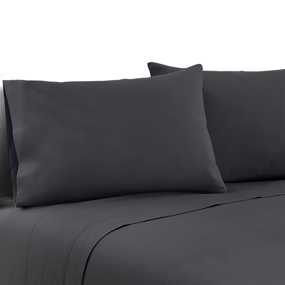 Giselle Bedding Queen Charcoal 4pcs Bed Sheet Set Pillowcase Flat Sheet