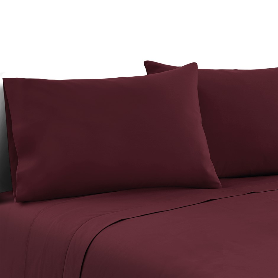 Giselle Bedding Queen Burgundy 4pcs Bed Sheet Set Pillowcase Flat Sheet