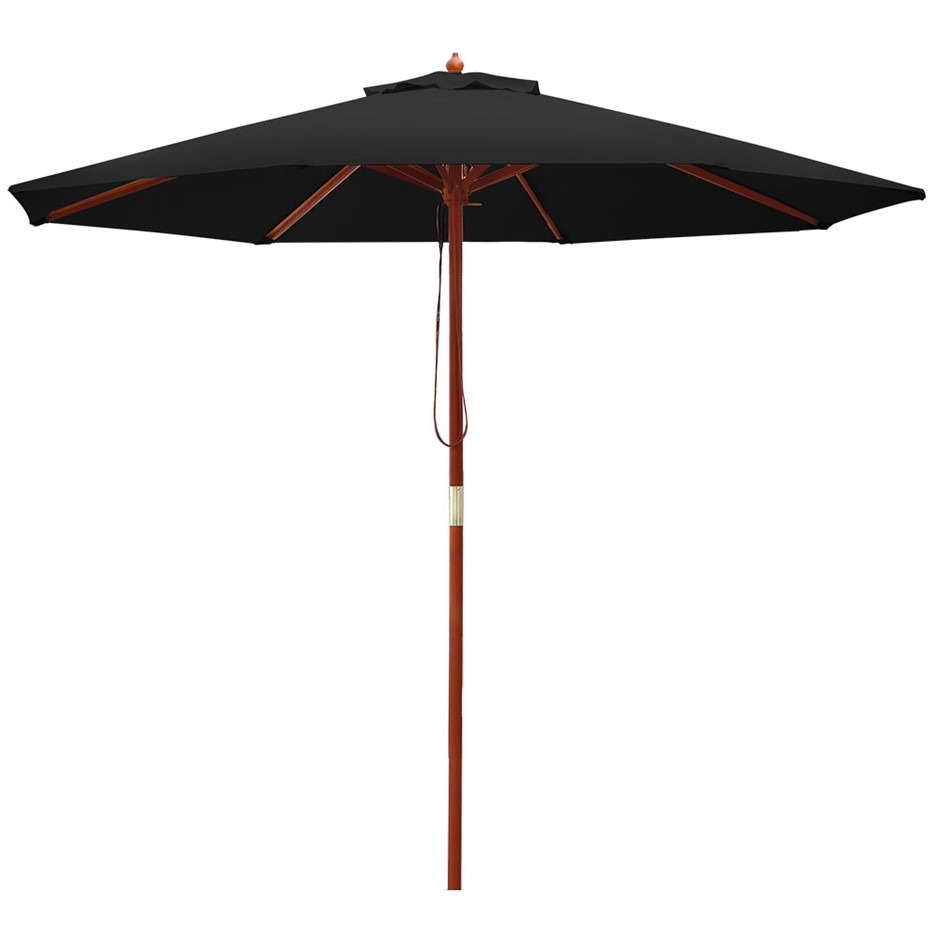 Instahut 2.7M Outdoor Pole Umbrella Cantilever Stand Garden Umbrellas Black