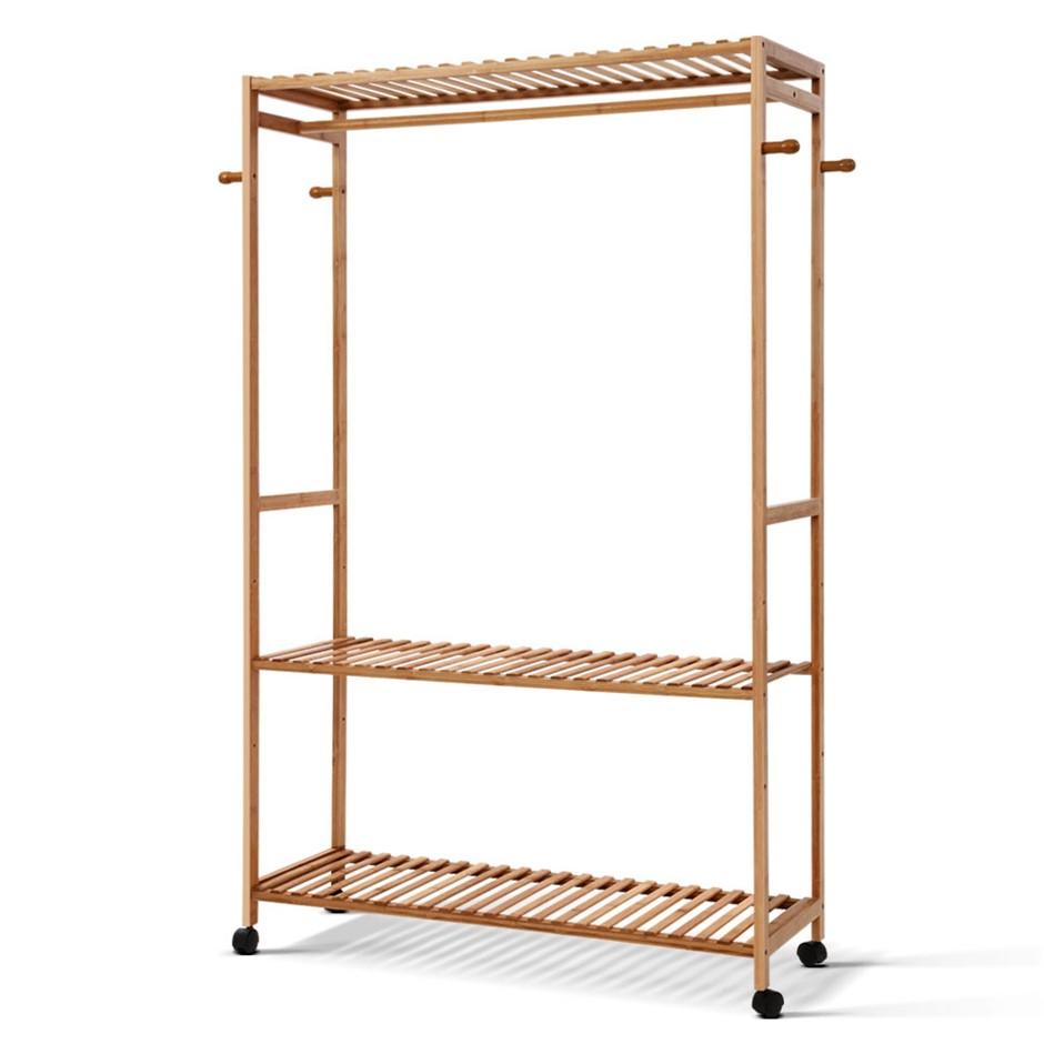 Artiss Bamboo Rack Coat Stand Garment Hanger Wardrobe Portable Airer