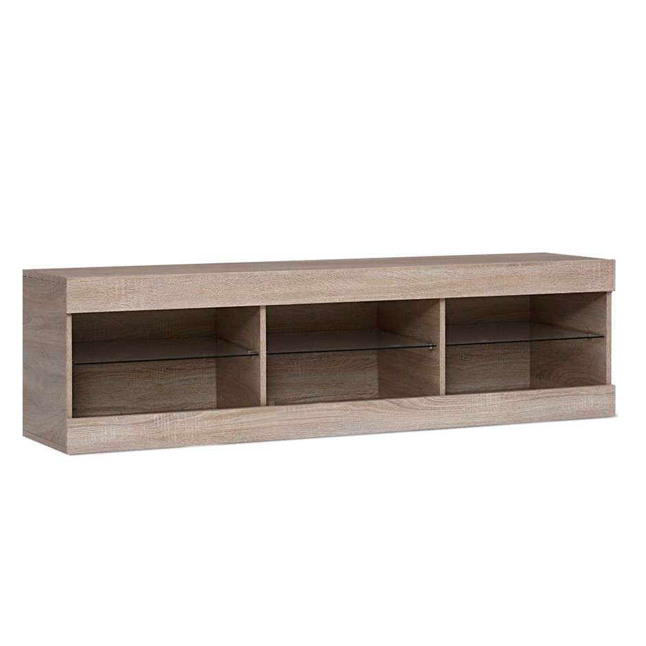 Artiss TV Cabinet Entertainment Unit RGB LED Glass Shelf Storage 150cm Oak