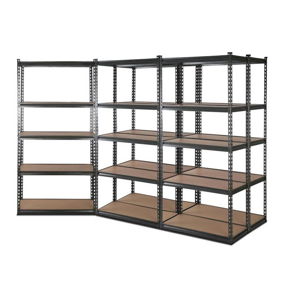 5x1.8M 5-Shelves Steel Warehouse Shelving - Grey