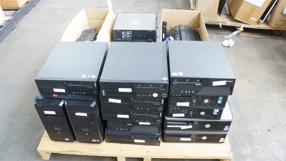 Pallet of Assorted Brand and Model Desktop PCs and Accessories