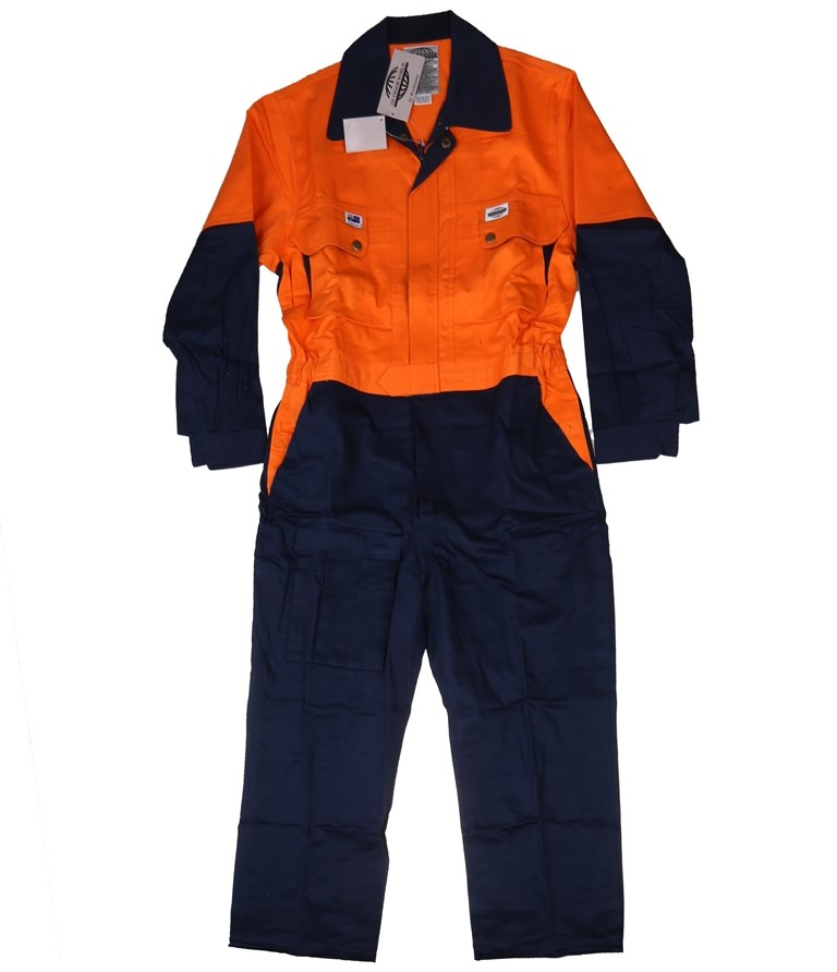 2 Pairs x OUTDOOR WORLD Hi-Vis Combination Safety Overalls, Size 107S, F1 S