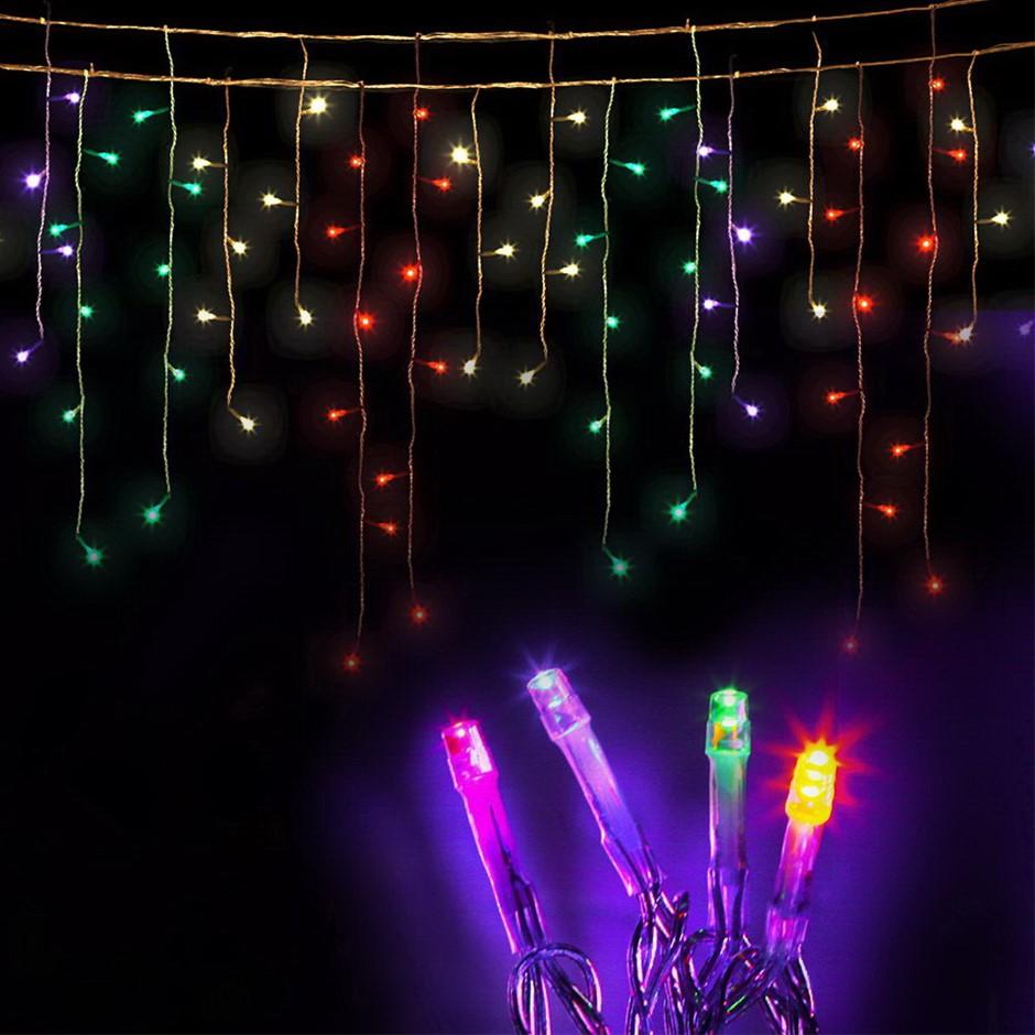 Jingle Jollys 500 Solar Powered Icicle Lights - Multi Colour