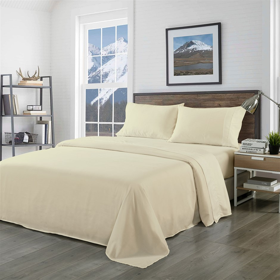 Royal Comfort Blended Bamboo Sheet Set Dark Ivory - King