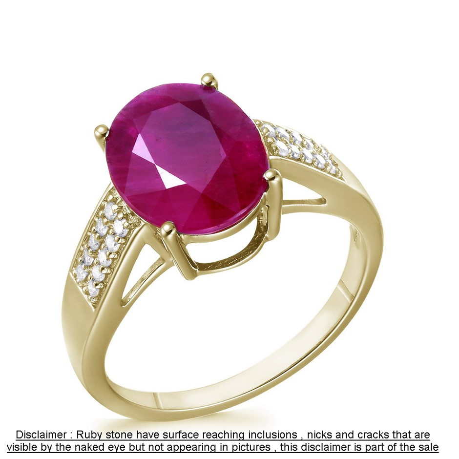 9ct Yellow Gold, 4.80ct Ruby and Diamond Ring