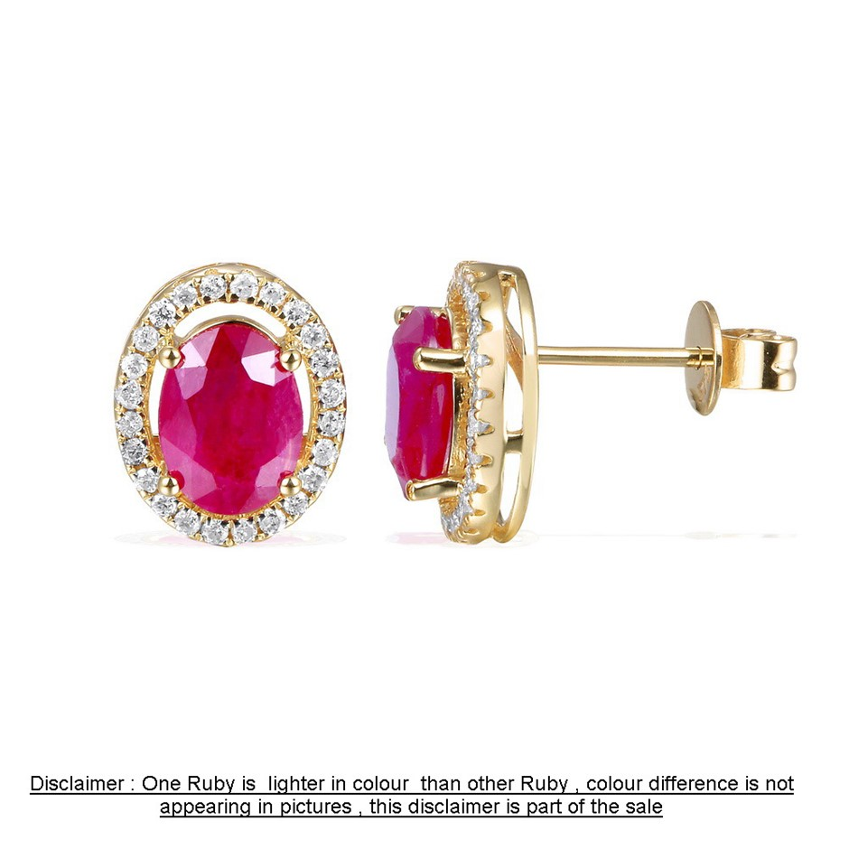 9ct Yellow Gold, 5.06ct Ruby and Diamond Earring