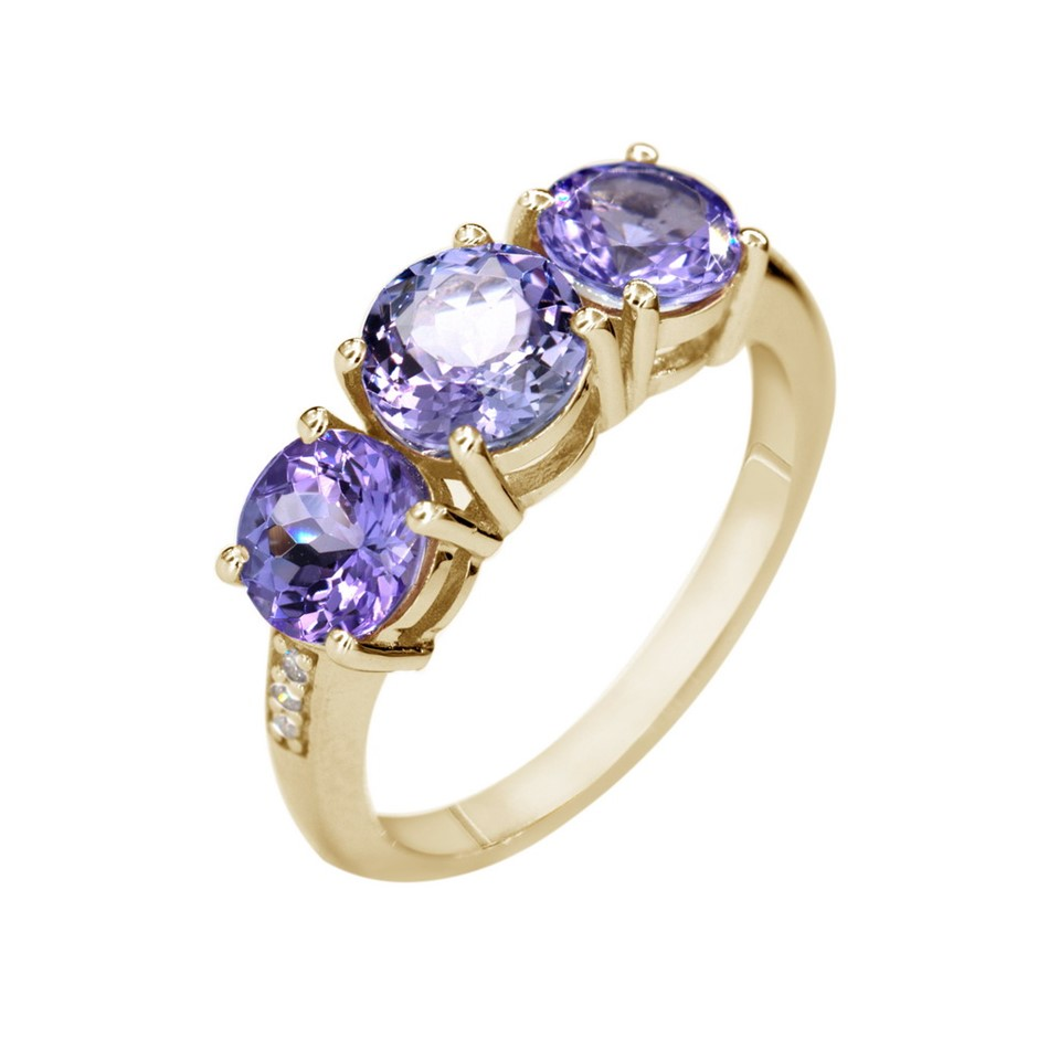 9ct Yellow Gold, 2.81ct Tanzanite and Diamond Ring